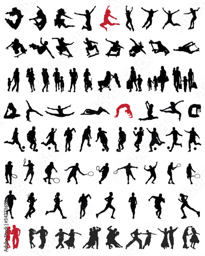 Big and different set of people silhouettes 2, vector