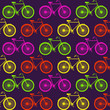 Vector pattern with bicycles, luminescent color