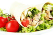 Kebab - grilled meat and vegetables, on plate, isolated on