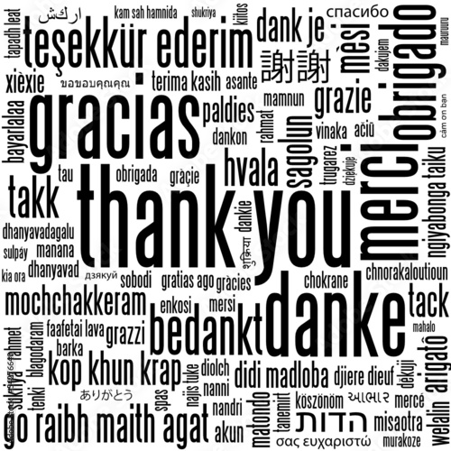 THANK YOU Card (thanks gratitude appreciation message tag cloud)