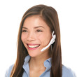 Headset customer service woman talking friendly