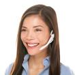 Headset customer service woman talking friendly