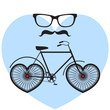 Vector hipster poster with bicycle on blue heart