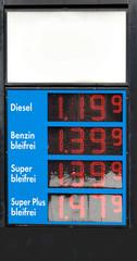 Tankstelle: ein Hinweisschild mit Kraftstoffpreisen