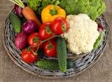 Fresh vegetables on burlap background