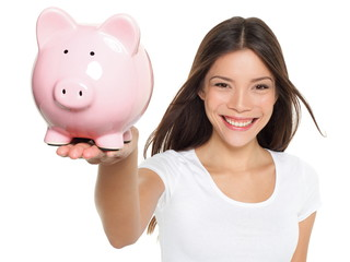 Piggy bank savings woman smiling happy