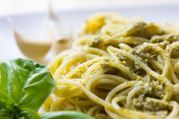 Spaghetti with pesto Genovese
