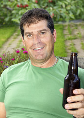 Man enjoying beer during summer