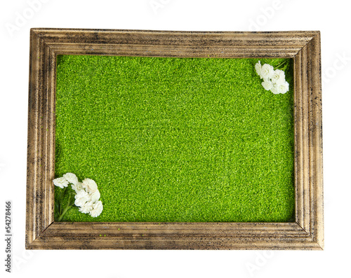 Picture of colored decorative sand with flowers isolated
