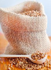 Raw buckwheat, portion of the  buckwheat