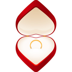 Red box in the form of a heart with a gold wedding ring