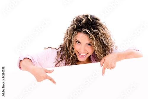 Woman pointing a banner ad