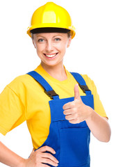 Young construction worker is showing thumb up sign