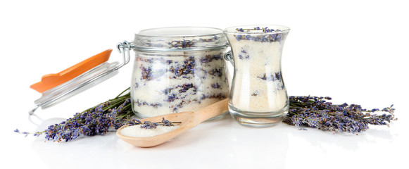 Jar of lavender sugar and fresh lavender flowers isolated