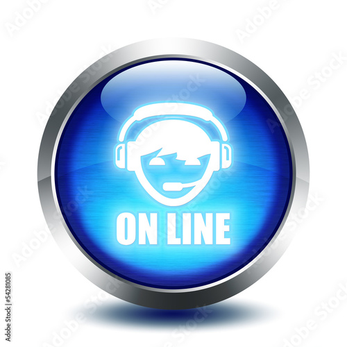 blu glass button - on line