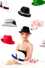 The Hatter, a fashionable lady with variety of hats