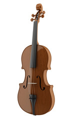 brown violin isolated on white background