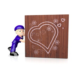 3d graphic of a 3d heart symbol  on delivered box