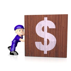 3d render of a financial Dollar icon  on delivered box