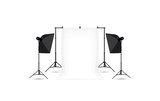 Two softboxes and white photo background isolated on white.