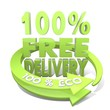 100 percent free delivery sign  a 100 percent eco