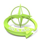 Illustration of a sustainable compass symbol  a 100 percent eco poster
