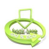 3d render of a sustainable book here icon  a 100 percent eco poster