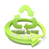 3d render of a sustainable workflow icon  a 100 percent eco poster