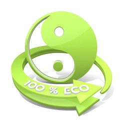 3d graphic of a environmental ying yang sign  a 100 percent eco