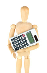 Wooden mannequin with calculator isolated on white