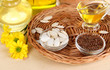 Useful linseed oil and pumpkin seed oil on wooden table