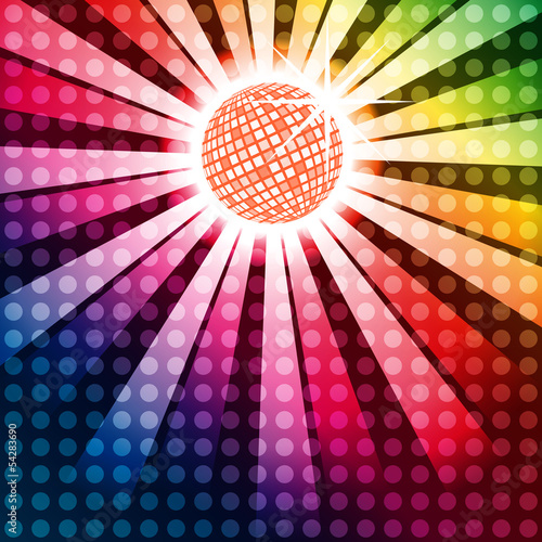 Discoball with funky rainbow background, EPS10 Vector