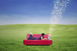Attractive female lying on red sofa and typing e-mail outdoor