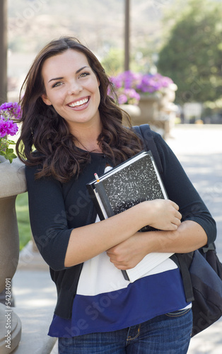 Beautiful Young Female Student Portrait on Campus