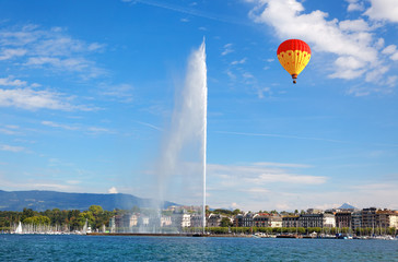Geneva water jet on Lake Leman at summer