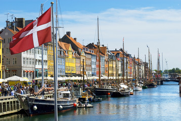 Historic canal of Nyhavn in Copenhagen, Denmark