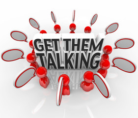 Get Them Talking People Speech Bubbles Sharing Ideas