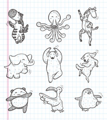 doodle animal dance icons