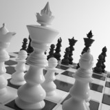 Close up of chess game with figures
