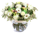 Fototapety Floral composition in glass, transparent vase: White roses, orch