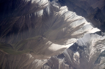 aerial view of Karakoram mountains of Sinkiang, China