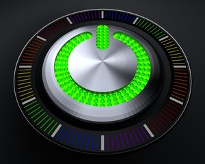 START Button with Glowing Green Lights on Dark Console