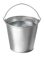 metal bucket with water on a white background
