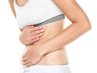 Stomach pain - woman having abdominal pain