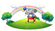 An elephant with balloons at the hilltop