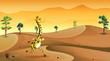 A giraffe running at the desert