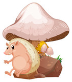 A molehog near the giant mushroom