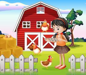 A girl with their farm animals