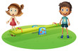 A girl and a boy near the seesaw