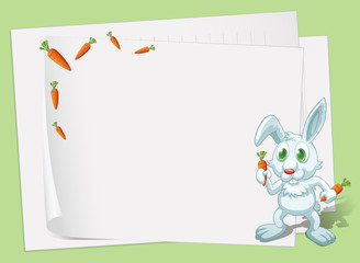 Empty papers with a bunny and carrots